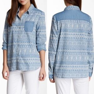 Ella Moss Chambray Aztec Printed Button Up Large